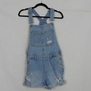 H&M Distressed Bib Overalls Shorts d